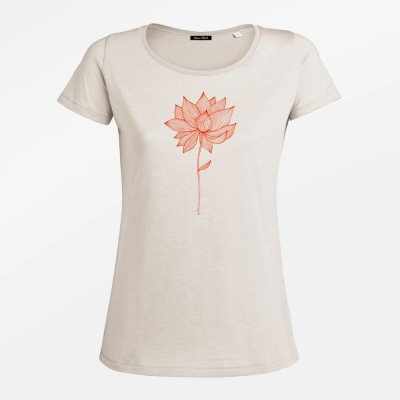 Red Blossoms Adores Slub Vintage White