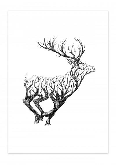 Nature Wooden Deer Poster