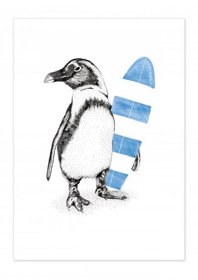 Animal Penguin Surfer Poster